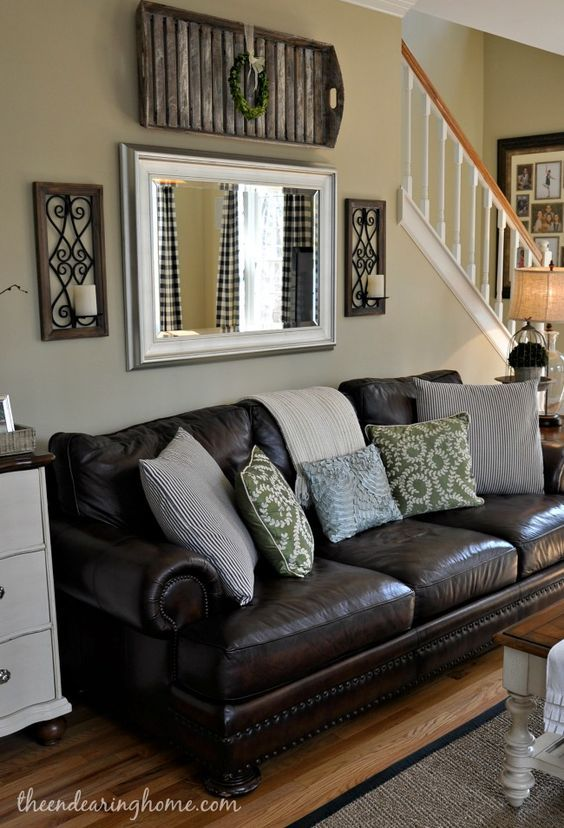 The Scoop 154 Pillows, Living rooms and Room - brown leather couch living room