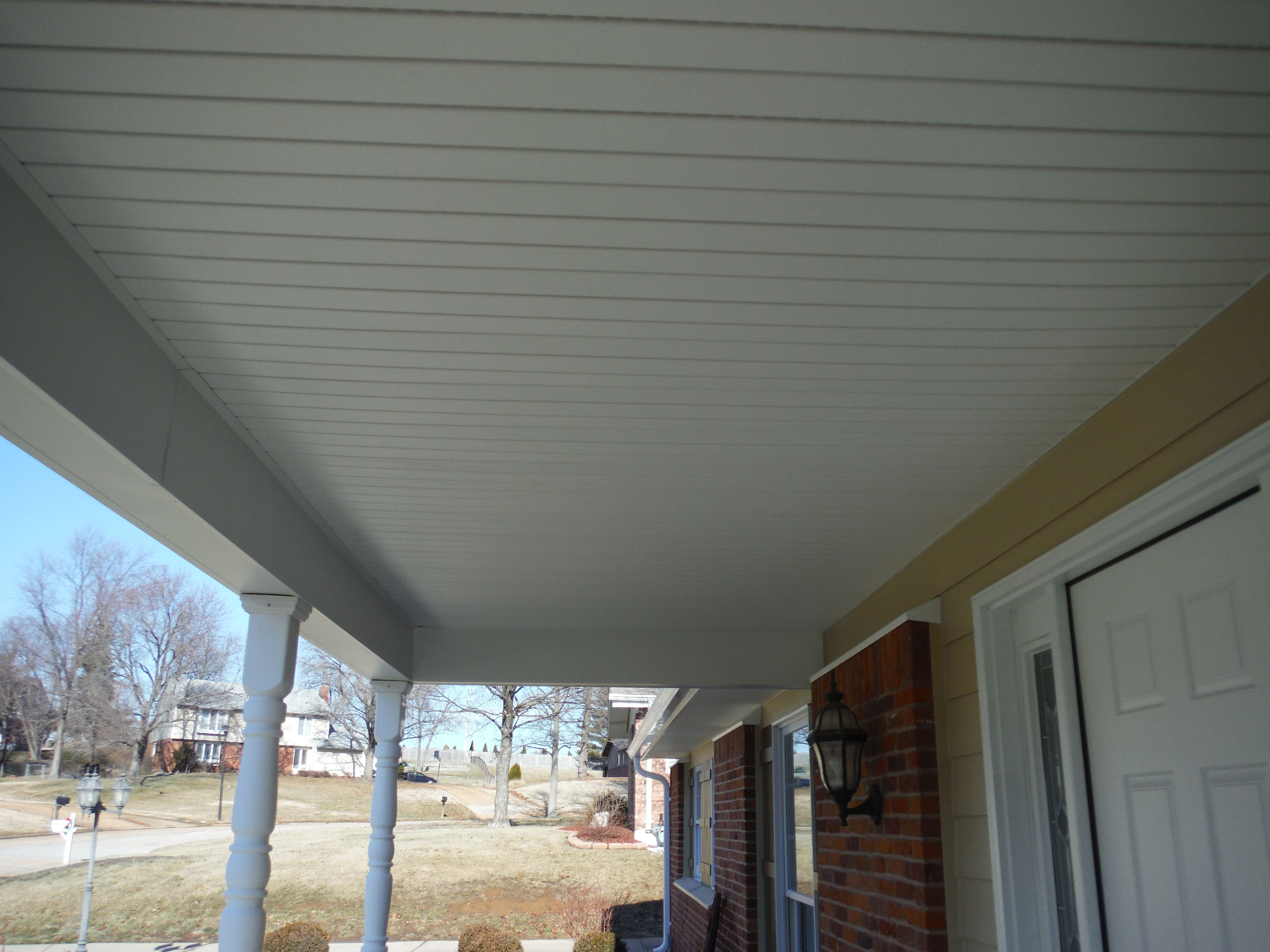 New custom porch ceiling built out of vinyl soffit