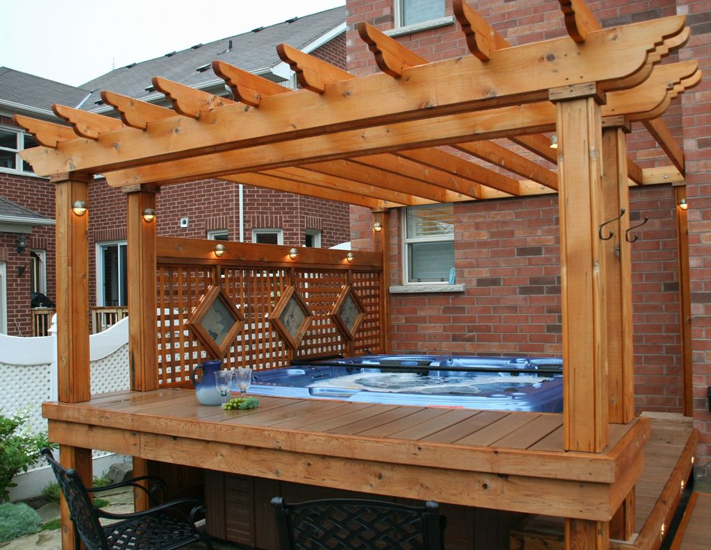 deck designs with hot tub and pergola