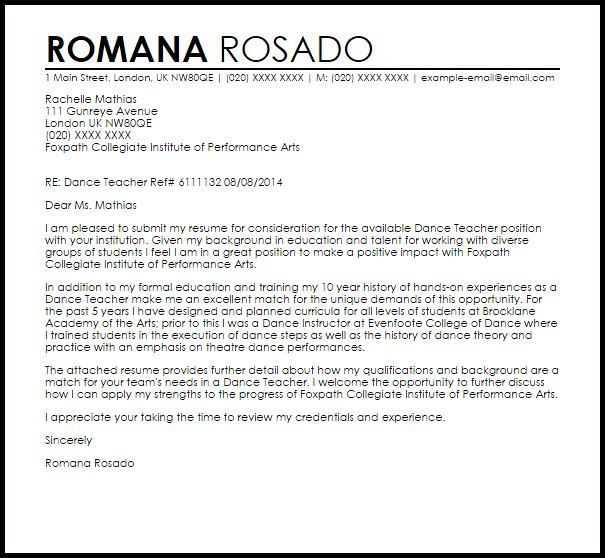 dance teacher cover letter