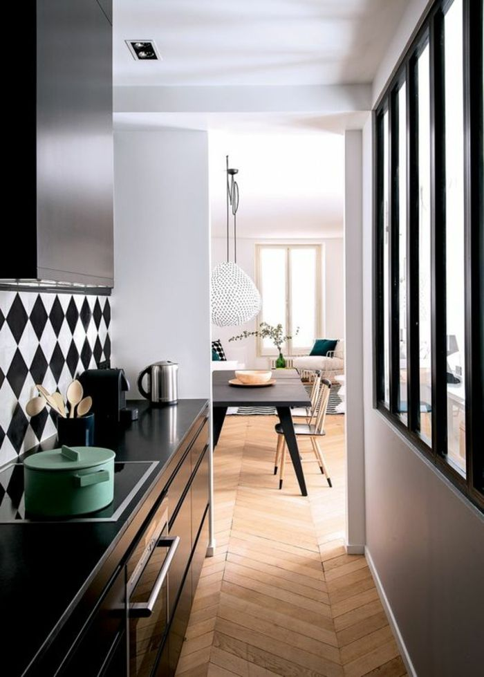 offene küche trennen schwarze küchenfronten glas raumteiler - schwarze kuche tipps bilder interieur