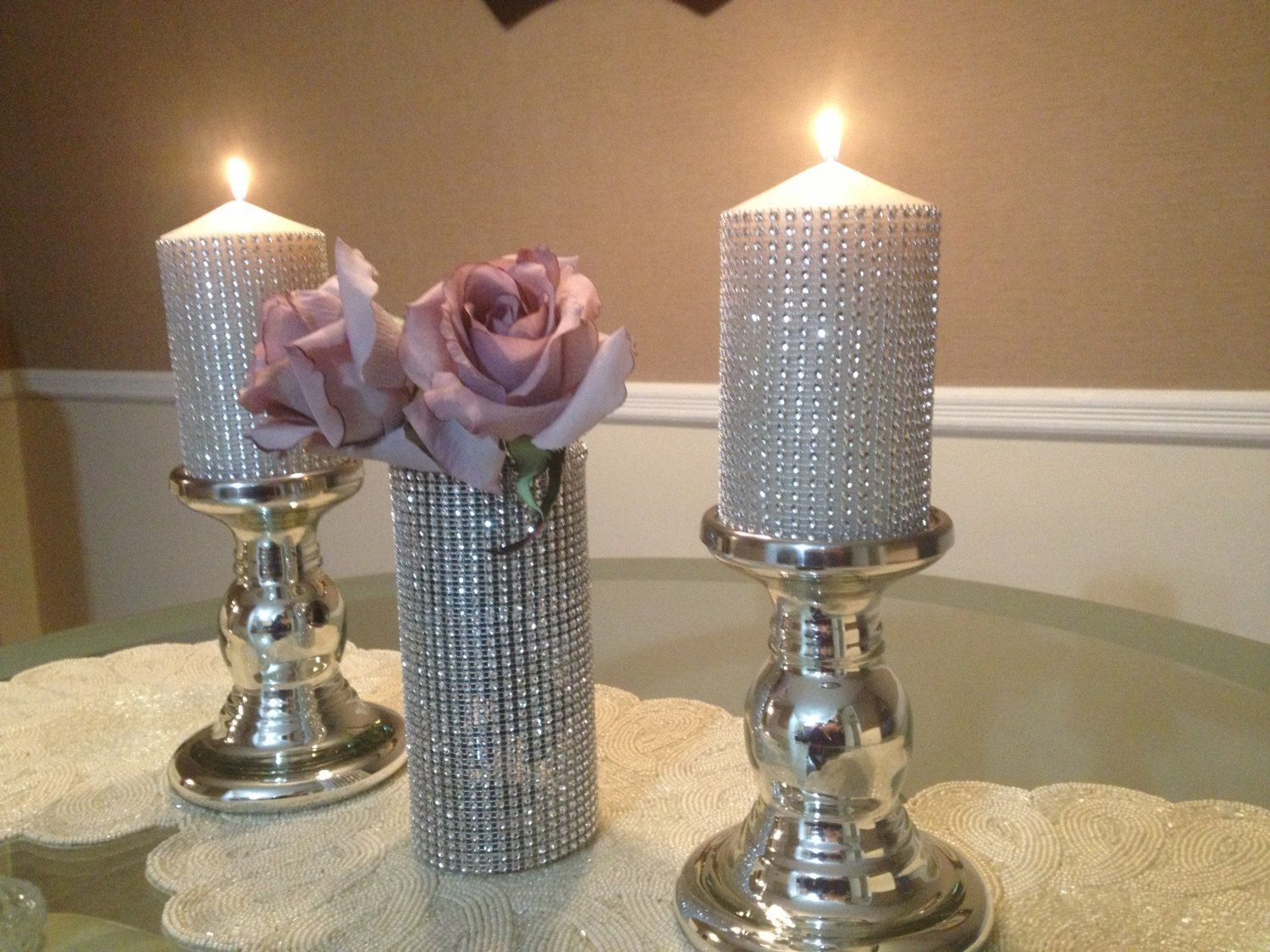 Decorative Candles For Sale Bling Wedding Decor Crystal Centerpieces Rhinestone
