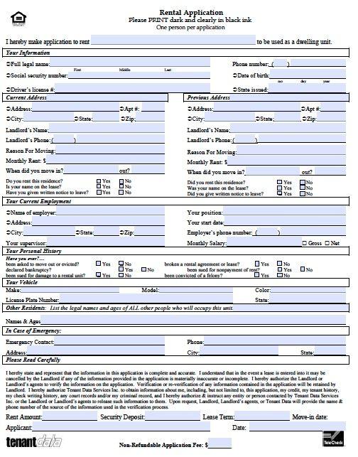 standard lease application form
