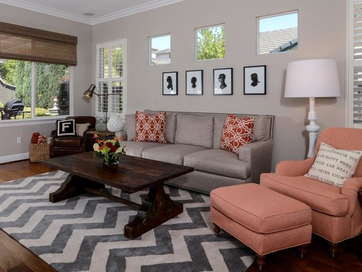 Furniture Nice Gray Living Room Decorating Idea Features Gray - peach living room