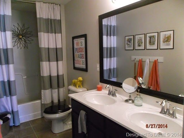 Boy \ Girl shared bathroom\/ Neutral with pops of color Designed - boy bathroom ideas