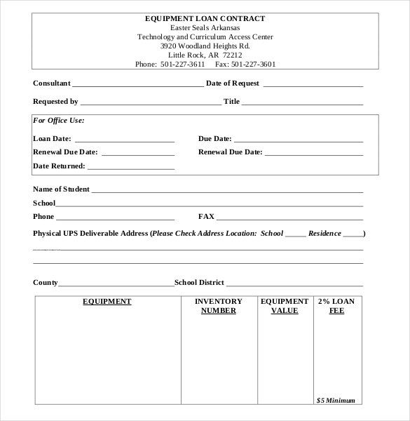 Equipment Loan Contract Form , 26+ Great Loan Agreement Template - loan templates