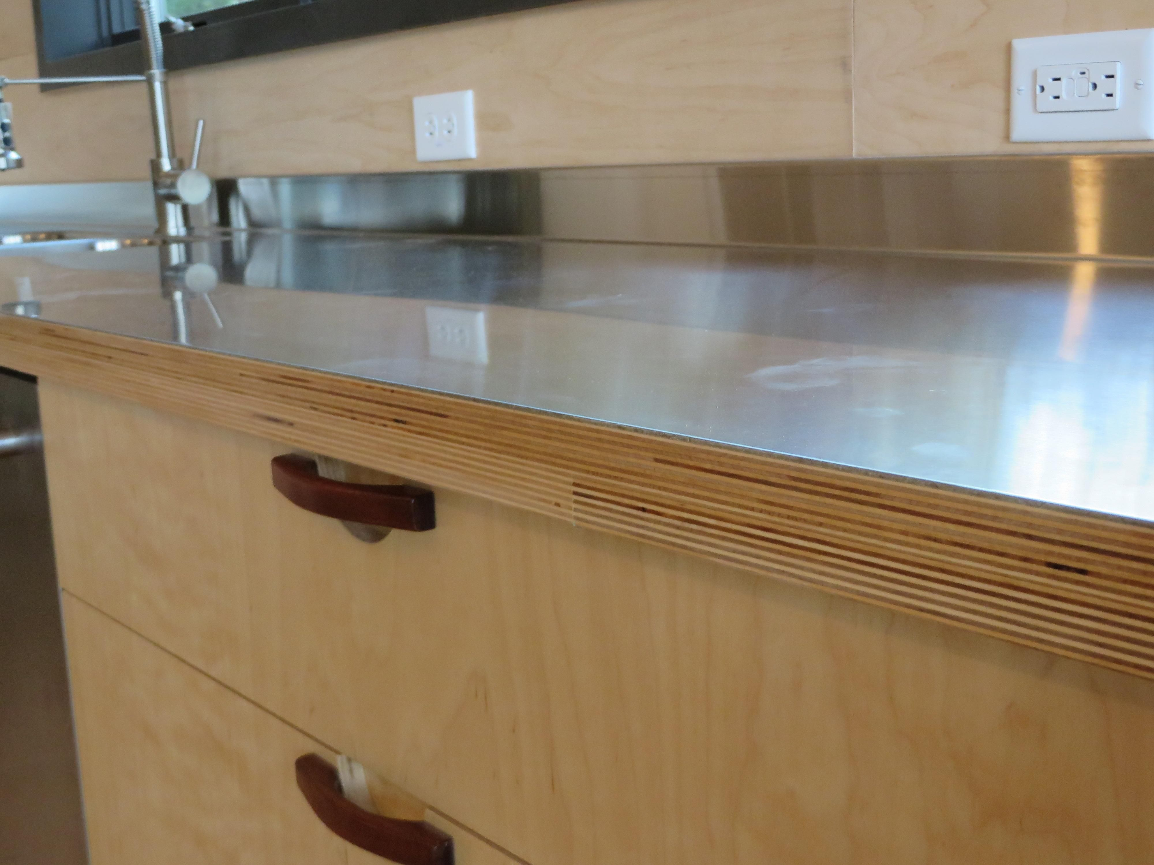 stainless steel table top stainless steel kitchen countertops Stainless steel laminated to baltic birch WOODWEB s Laminating and Solid Surfacing Forum