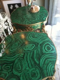 Painted malachite side tables by Tony Duquette