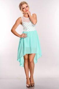 Mint White Polka Dot High Low Hem Dress @ Amiclubwear sexy ...