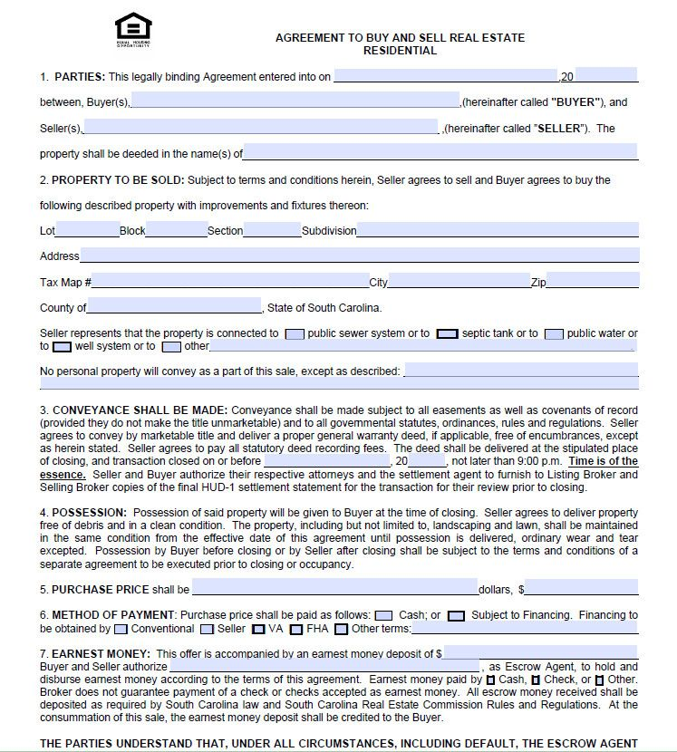 Charleston Real Estate Agreement To Purchase Form - free - purchase agreement samples