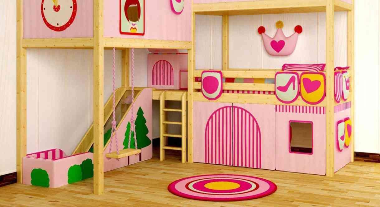 Antique pink girls loft bed with slide modern princess castle twin tent bunk bed