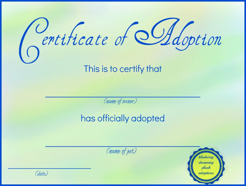 Printable Stuffed Animal Adoption Certificates Free Printables - certificate template for kids