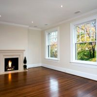antique white walls, white ceiling and trim, medium wood ...