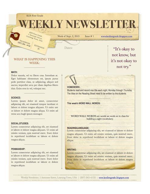 Free Weekly Newsletter Template - Gazette style Church - church newsletter