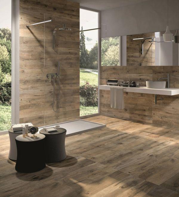 Badezimmer-begehbare-duschkabine-Luxus-Keramikfliesen-Holzoptik - designer schranke holz keramik