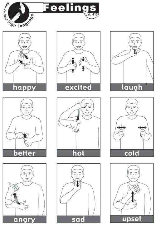 sign language emotions quick reference sheet for emotions or - baby sign language chart template