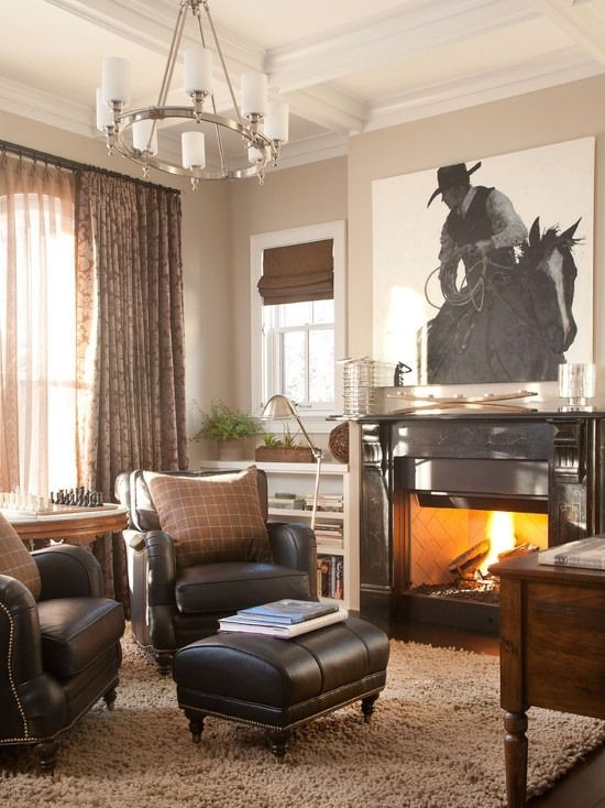 Cowboy living room the big canvas with tjs pic roping would be - western living room decor