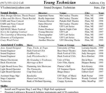Technical Theatre Resume College Pinterest Theatres, Resume - theatrical resume format