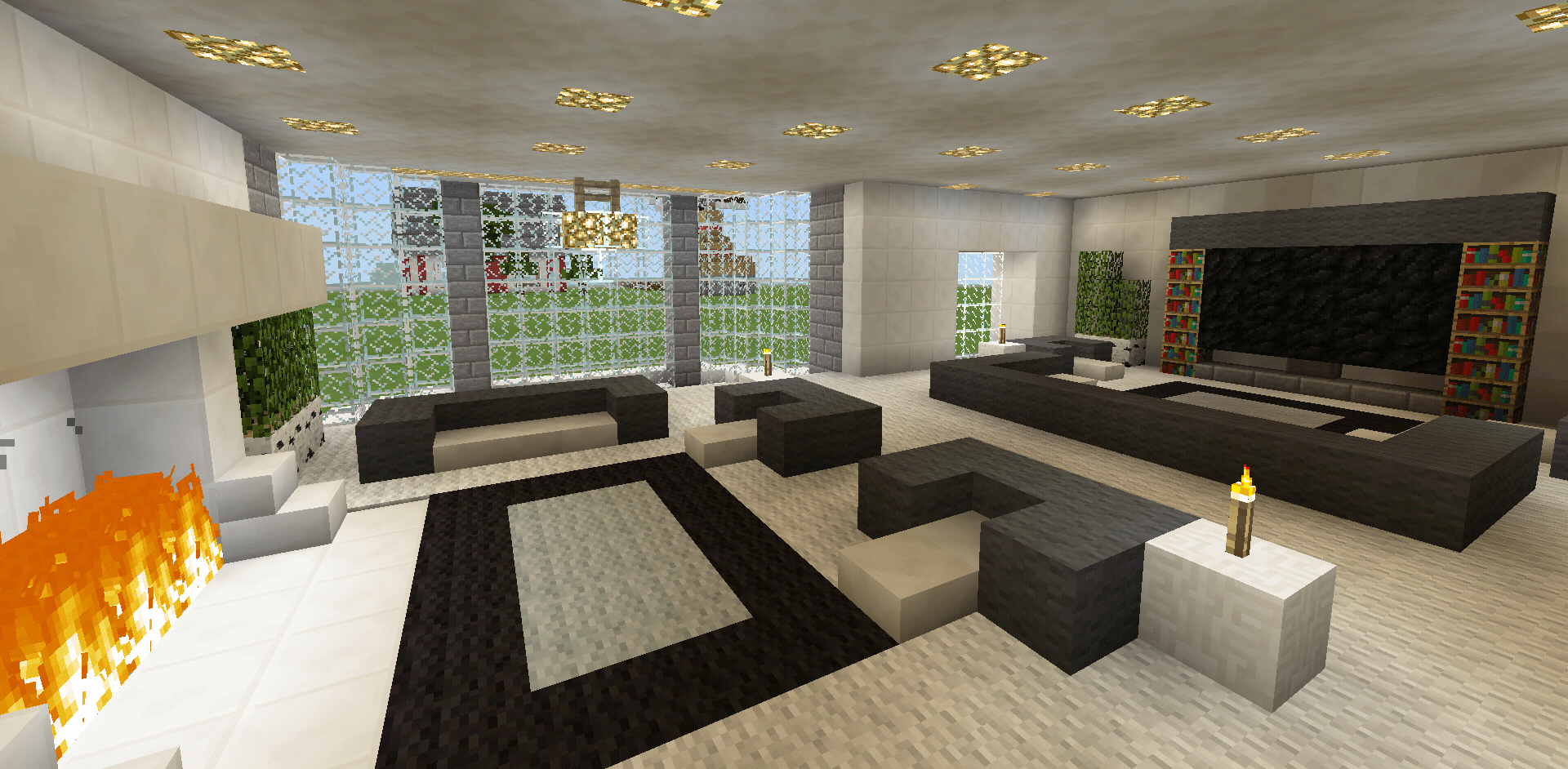 Minecraft Salon Moderne Minecraft Family Living Room And Fireplace Couch Chair Tv