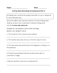 Linking Verbs Worksheets | Englishlinx.com Board ...