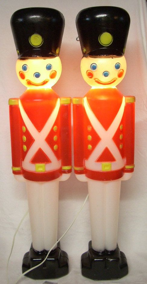 Vintage Christmas Decorations Blow Mold Soldier Lights 31 inch - plastic christmas decorations