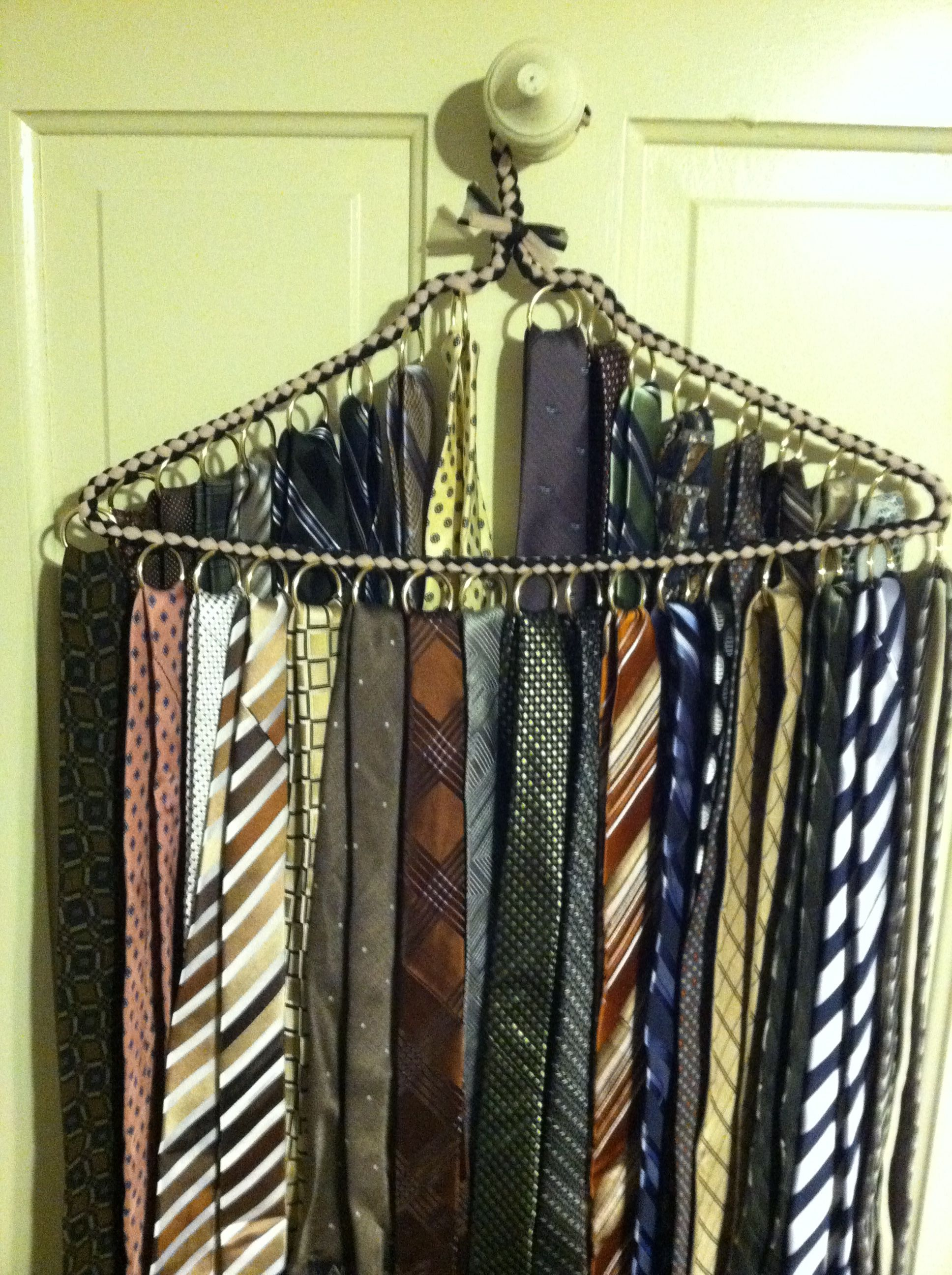 Make A Tie Hanger By Adding Curtain Rings To Your Hanger