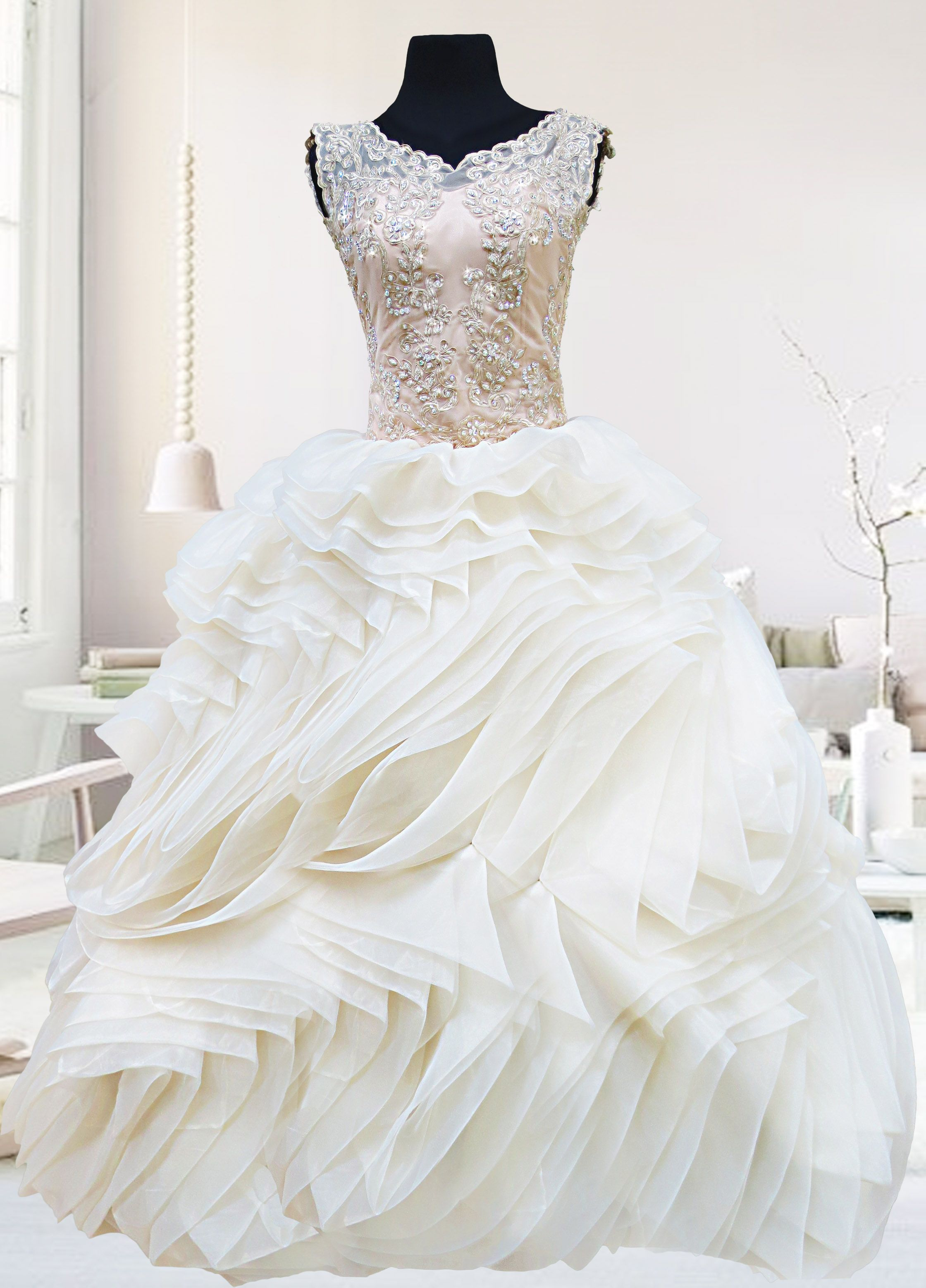 wedding dresses for rent The Angelina Gown is a champagne vintage inspired ball gown available for rent at Php5