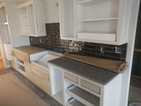 Cambria Carrick quartz countertop with dark grey ...