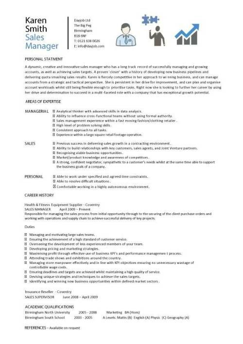 Sales Manager CV example, free CV template, sales management jobs - examples of cv