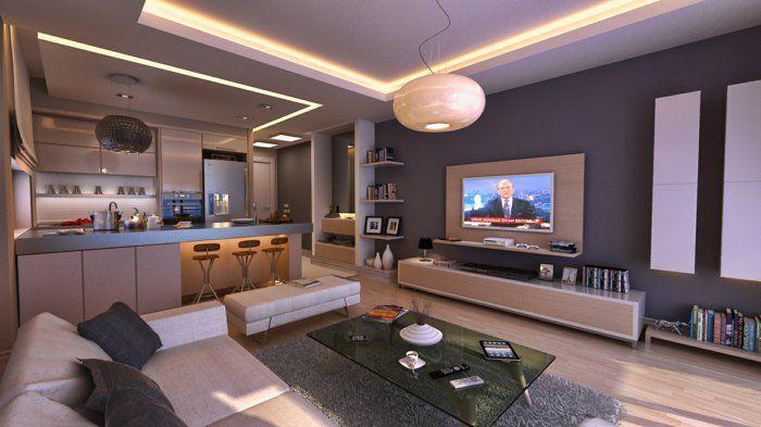wohnzimmer ideen für eine moderne wandgestaltung Wandfarbe - heimkino wohnzimmer ideen