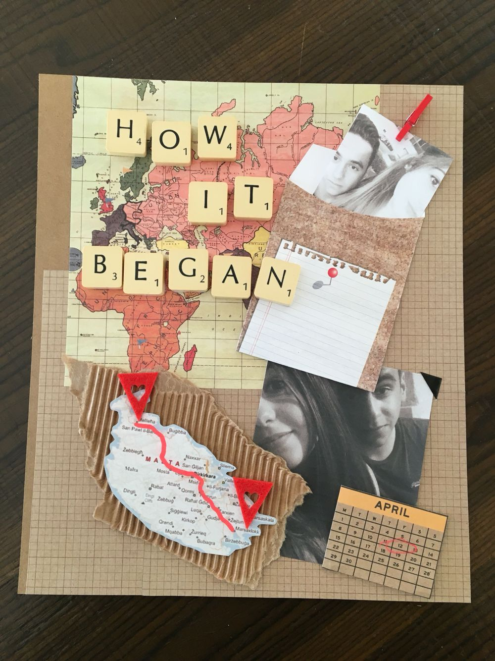 Making a scrapbook for our one year anniversary page one down several to