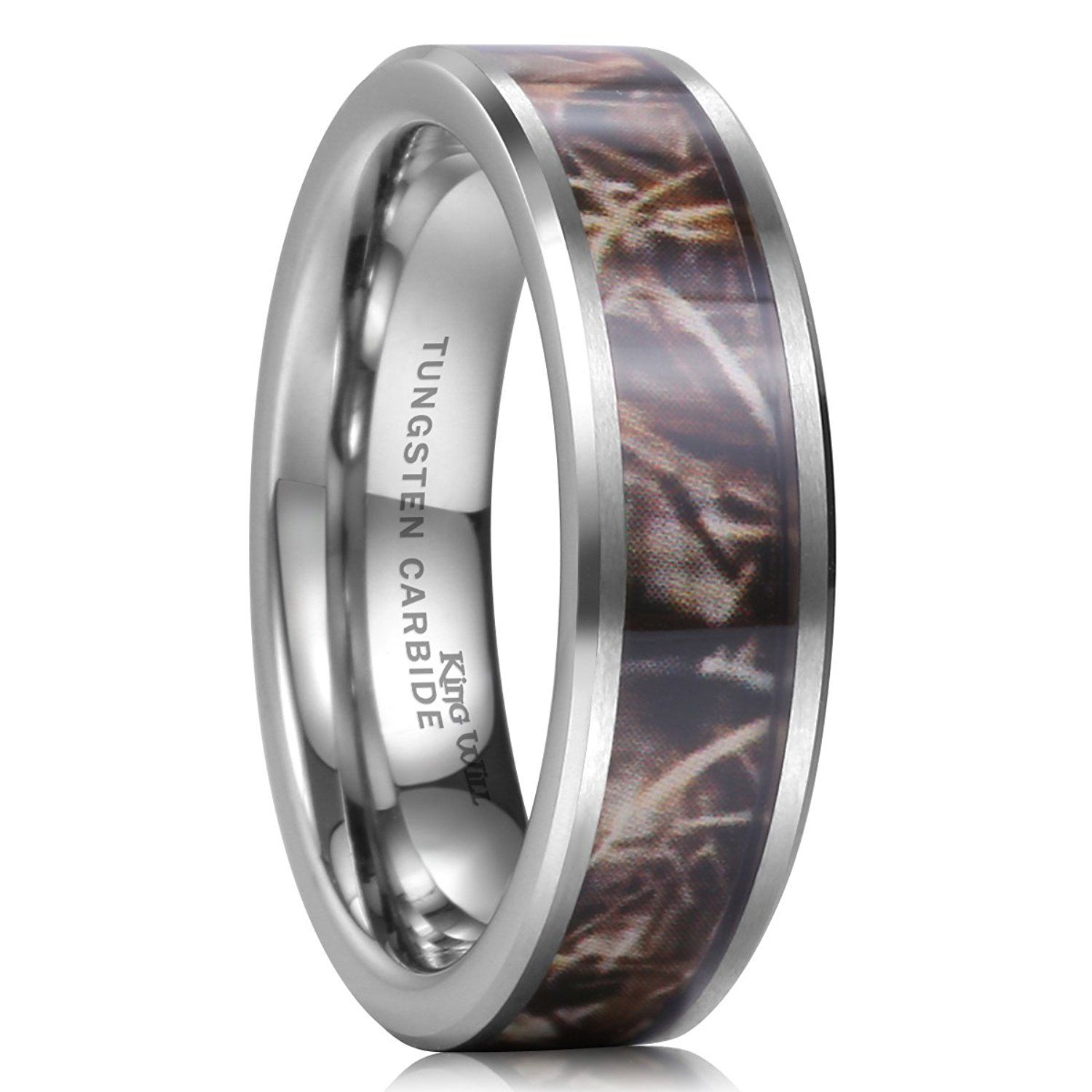 camo mens wedding bands King Will 8mm Camouflage Hunting Mens Tungsten Ring Camo Polished Wedding Band Trees Leaves