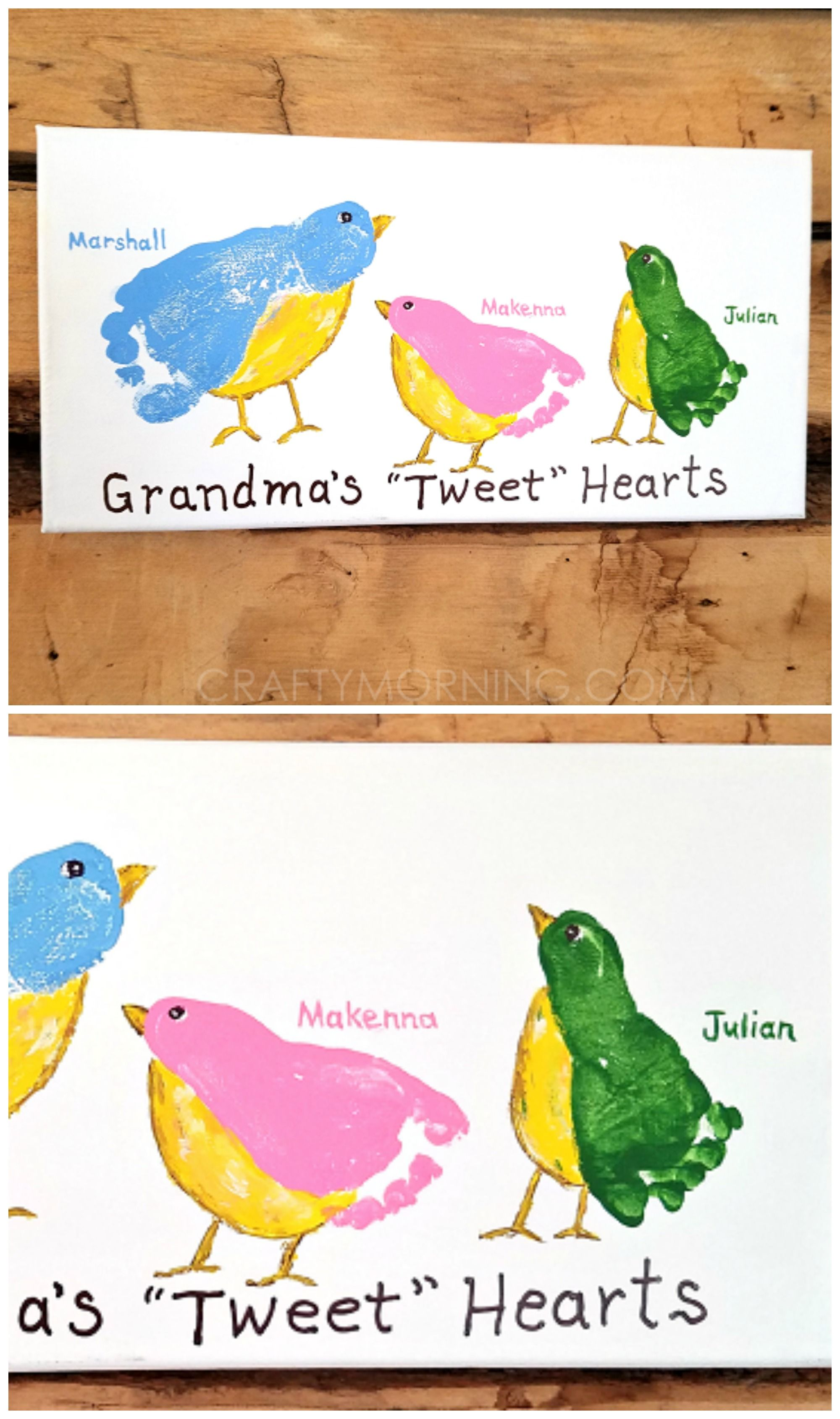 Diy Mothers Day Gifts For Grandma Grandma 39s Quottweet Quot Hearts Footprint Canvas What A Cute