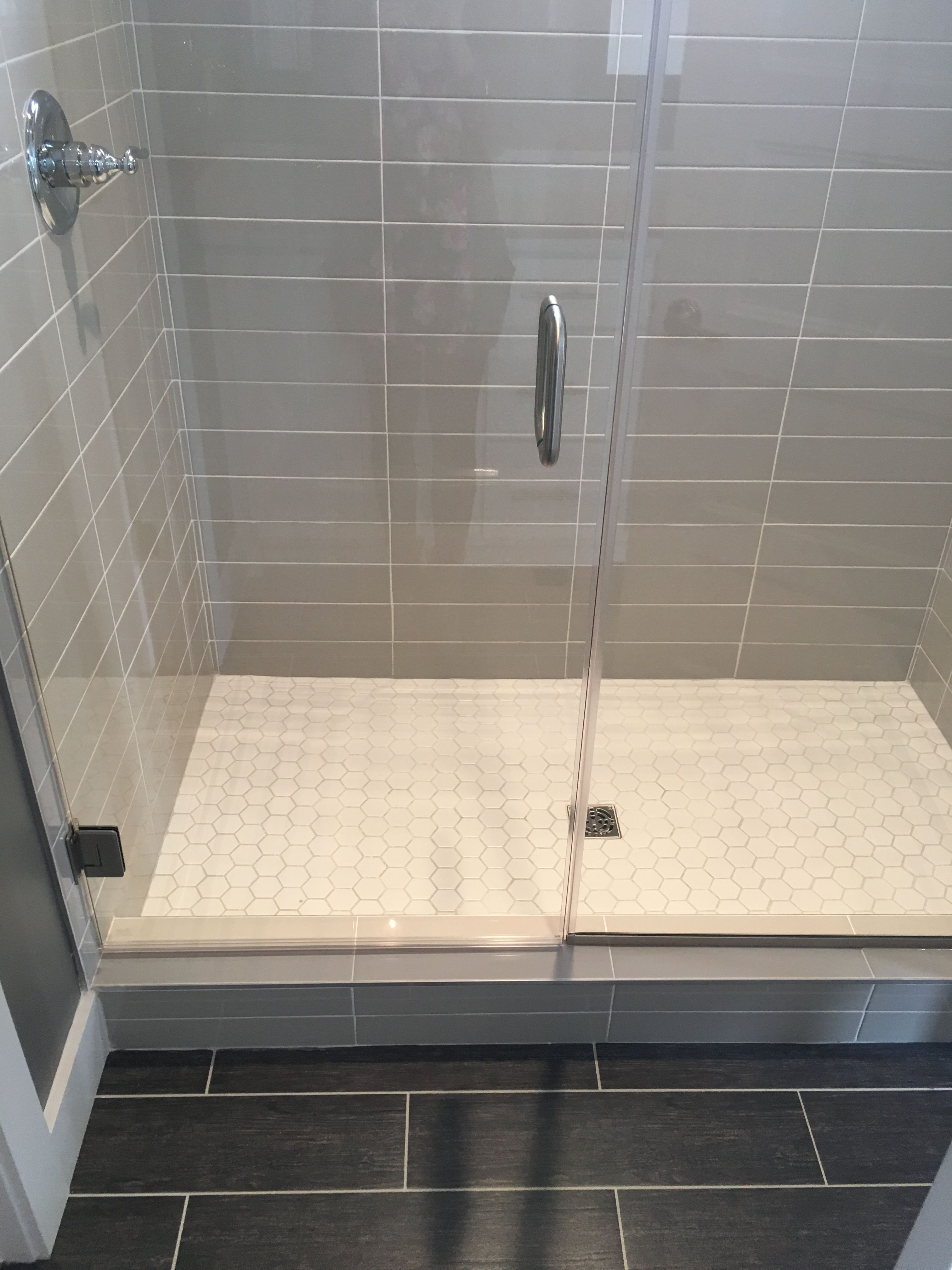 Wood Shower Floor Gray 4x16 Subway Tile Stacked With White Hex Shower Floor
