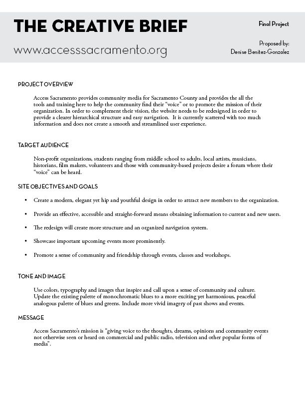 Project Brief Template Word  BesikEightyCo