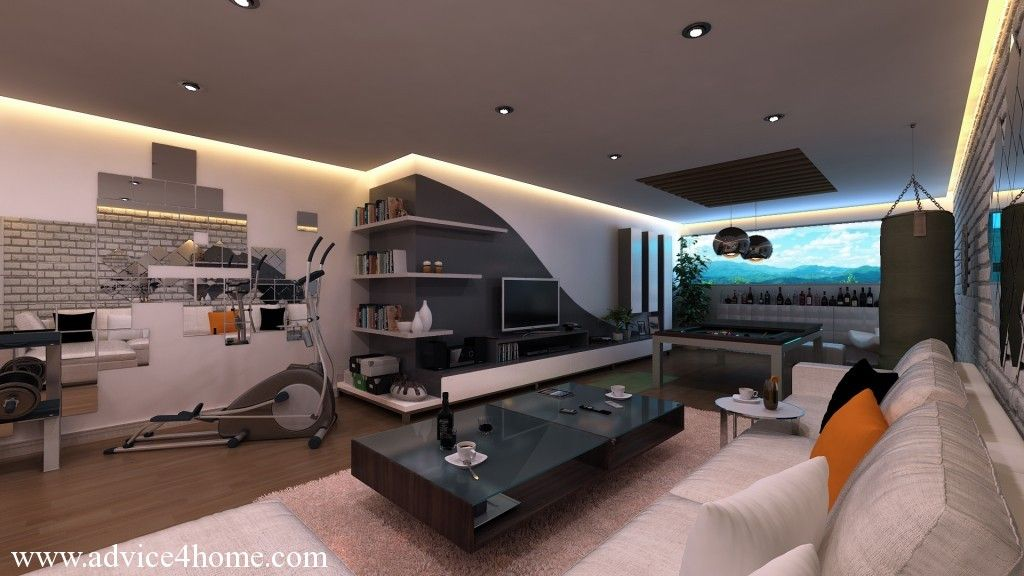 white-gray wall and white sofa design game room Home, Games and - home design game
