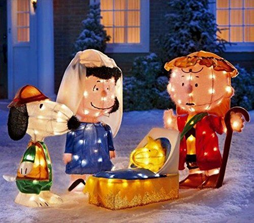 CHRISTMAS 4 PC PEANUTS GANG GEL LIGHT 3D CHRISTMAS PAGEANT - peanuts outdoor christmas decorations