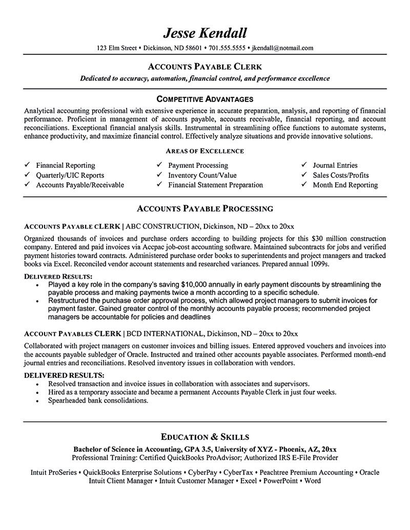 accounts payable resume is used to apply a job as account