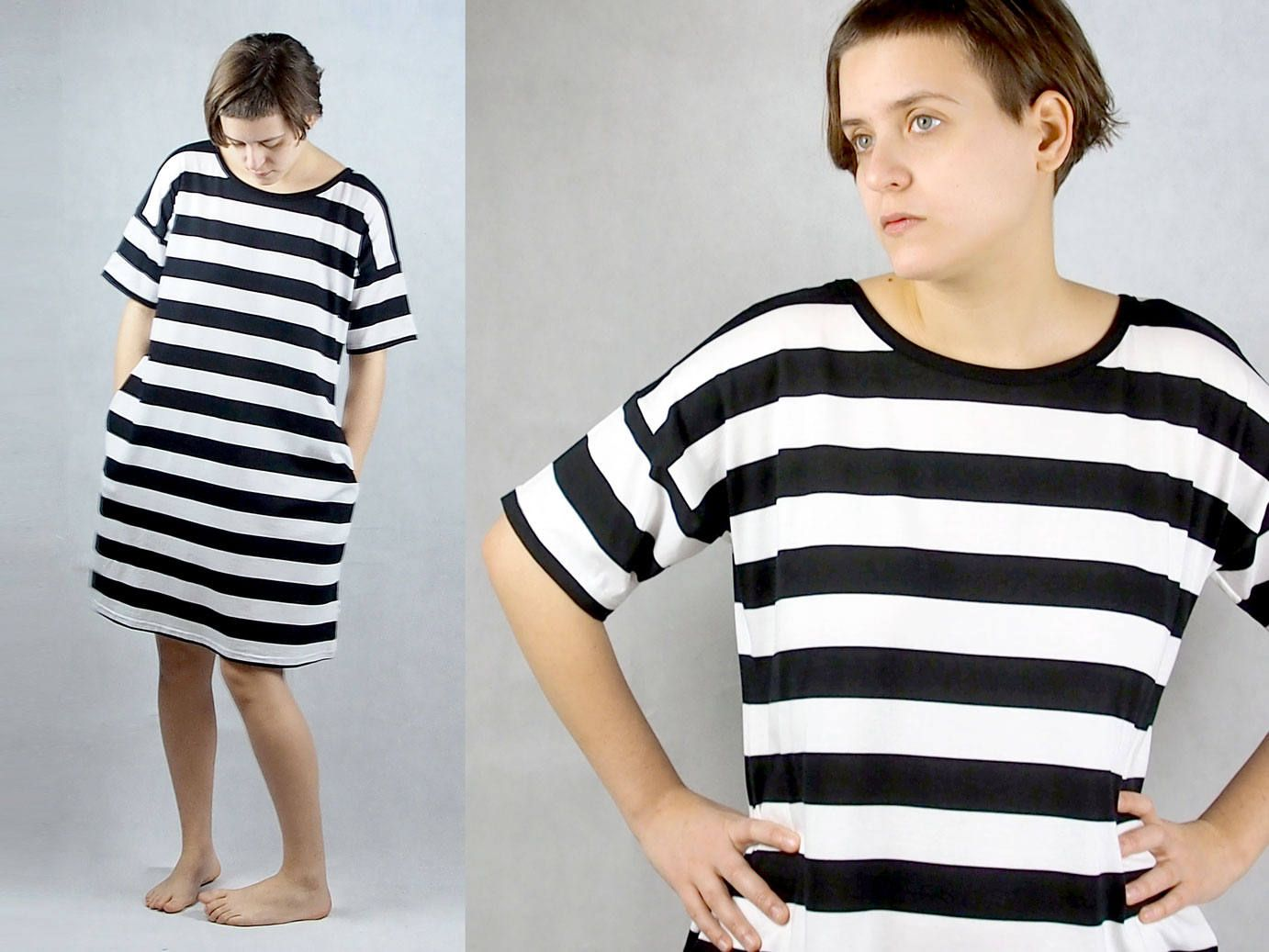 Tricot dress with pockets and stripes black and white women s clothing t shirt dress cotton by themotekshop on etsy