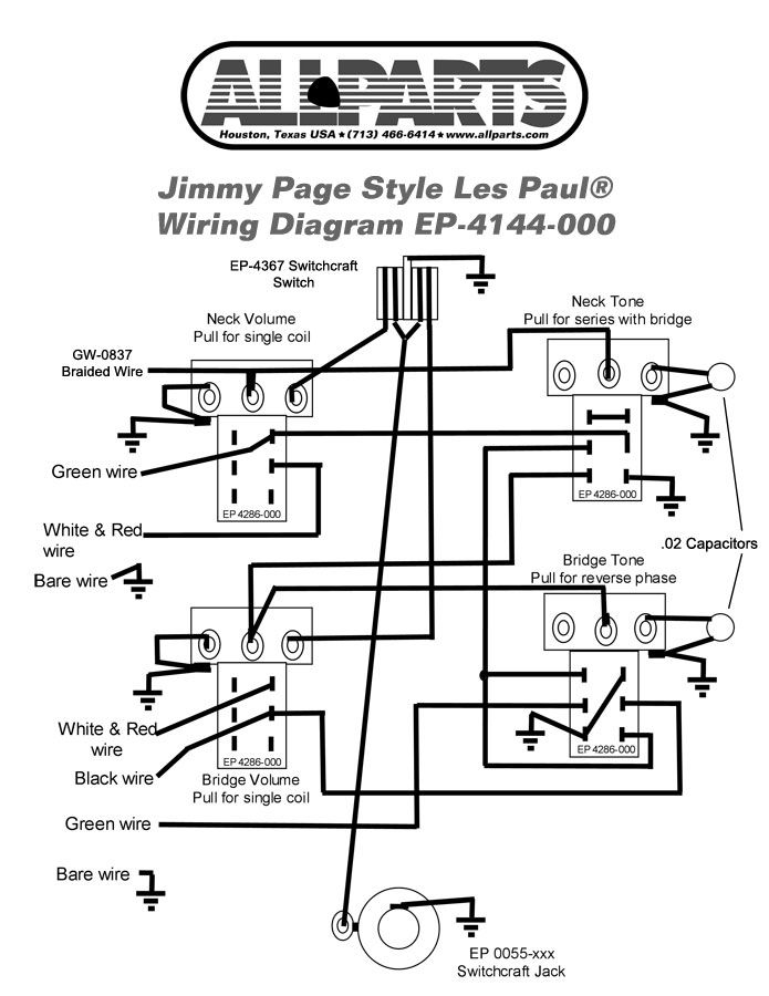 wiring diagram for a les paul guitar
