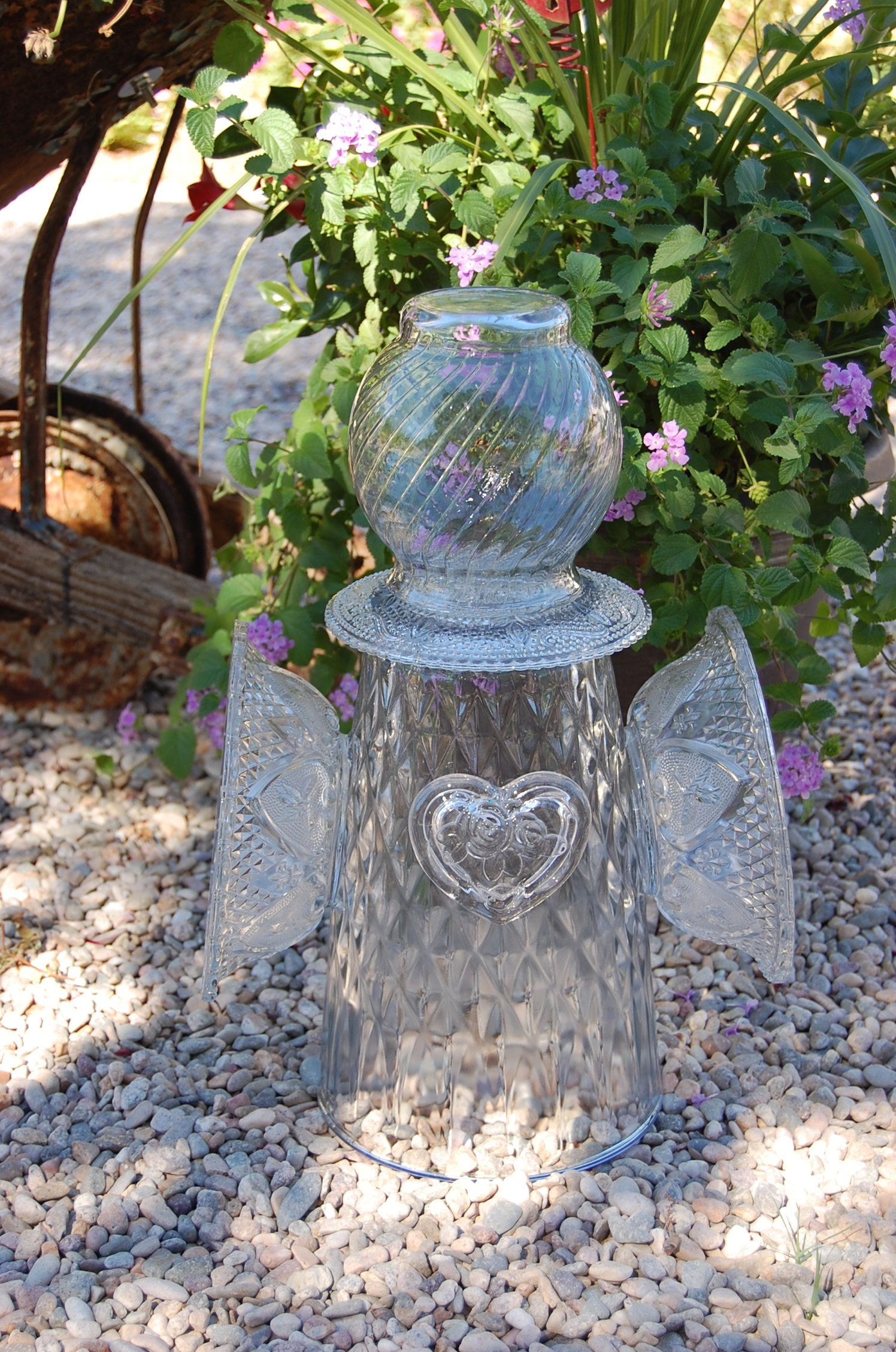 Garden Angel Glass Angel Yard Art Made From Two Vases A Saucer And Two
