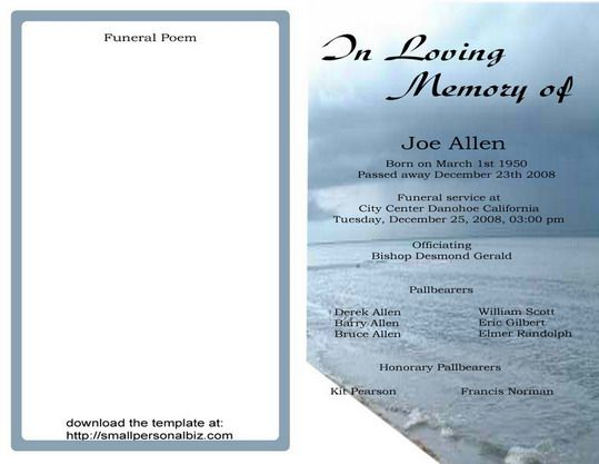 Free Funeral Program Templates Find Sample Funeral Program for - sample program templates
