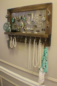 Amazing Ash Stained Wall Mounted Jewelry Organizer, Wall ...