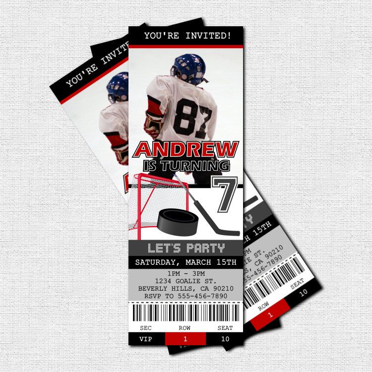 HOCKEY TICKET INVITATIONS + Free Thank You Card Birthday Party - print your own tickets template free