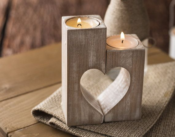 Wooden candle holders, Rustic heart candle holders
