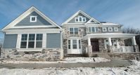 With New England Front Elevation Including: Stone, Bay ...