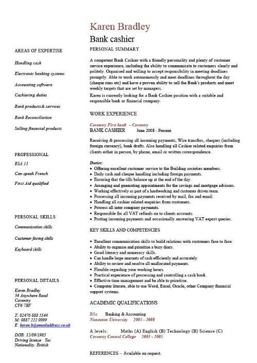 Bank Cashier CV template #CV #template #cashier CV Templates - cv template