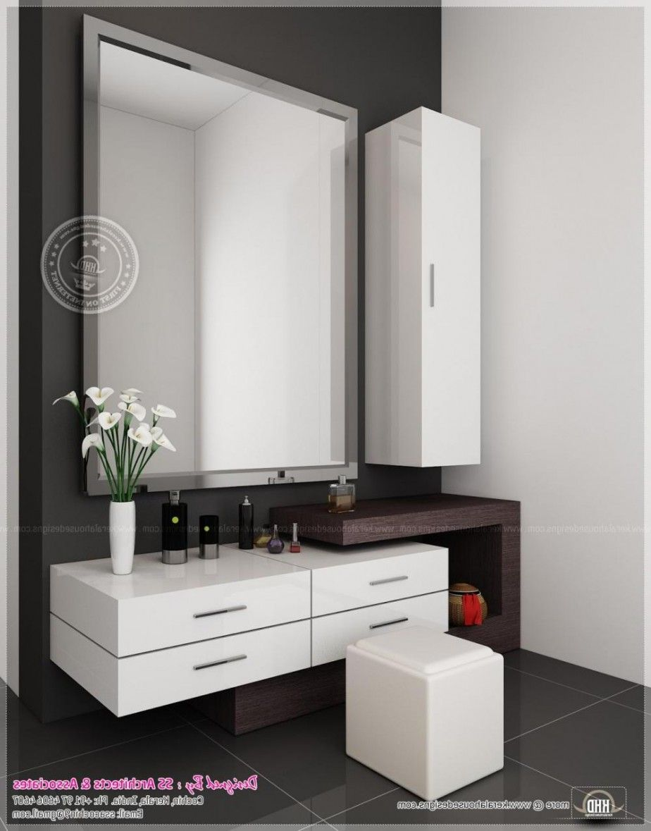 Futuristic dressing table design with square wall mirror also white tall wall mounted medicine storage design