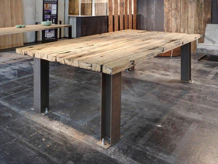 Details Zu RAILROAD Tisch Esstisch Schreibtisch Eiche Shabby Chic   Designer  Tisch Stahl Perfekter Balance