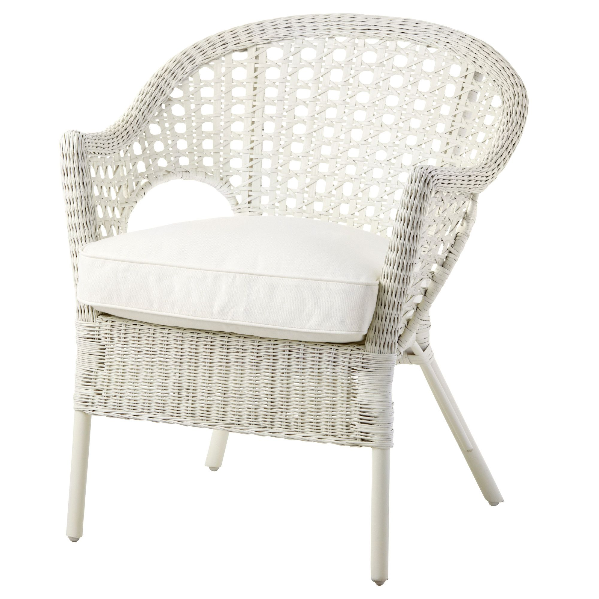 Ikea Rattan Chair Finntorp Djupvik Armchair With Cushion White